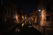 Italy, Veneto, Venice.\nThe atmosphere of Venice's canal in the night.