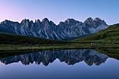 Kalkkögel mountain chain reflecting itself in the little Salfeiner See at early morning, Grinzens, Innsbruck Land, Tyrol, Austria, Europe
