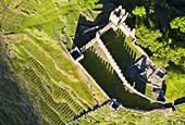 Zenithal aerial view of Visconti Venosta Castle. Grosio, Valtellina, Lombardy, Italy, Europe.