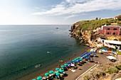 Cala nave beach, the most important beach in Ventotene island.\nEurope, Italy, Lazio, Province of Latina, Island of Ventotene