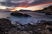 Long exposure and sunset in the Gulf of Poets on the Tellaro cliff, municipality of Lerici, La Spezia province, Liguria district, Italy, Europe