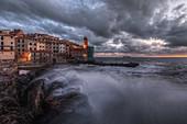 A dramatic storm at sunset on the Tellaro, municipality of Lerici, La Spezia province, Liguria district, Italy, Europe