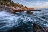 Sunset on the Tellaro cliff, municipality of Lerici, La Spezia province, Liguria district, Italy, Europe