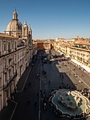 An elevated view of Piazza Navona.\nItaly, Lazio, Province of Rome, Rome.