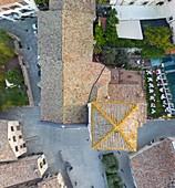 Italy, Umbria, Gubbio, Aeriel view of St. John church