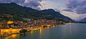 Blue hour at Lovere illuminated, Iseo lake, Val Seriana, Bergamo, Lombardy, Italy, Southern Europe