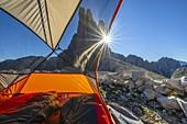 A tent at Vajolet Towers at sunrise, Gruppo del Catinaccio, Dolomiti di Gardena, Bolzano, Tires, Trentino Alto Adige, Italy, Southern Europe