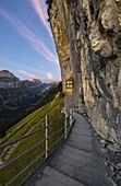 Äescher, Berggasthaus at sunrise during summer, Wasserauen, Ebenalp, Canton Appenzell Innerrhoden, Alpstein, Schwende, Switzerland, Western Europe