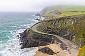 Foggy view of the Coumeenoole beach (Slea Head). Dingle peninsula, County Kerry, Munster province, Ireland, Europe.