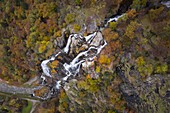 Aerial view of the Acquafraggia waterfalls in autumn. Piuro, Valchiavenna, Valtellina, Lombardy, Italy, Europe.
