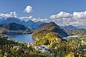 Schwangau, district Ostallgäu, Swabia, Bavaria, Germany, Europe. Hohenschwangau castle and the Alp lake