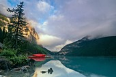 Canada, Alberta, Banff National Park, Lake Louise: first lights on the lake