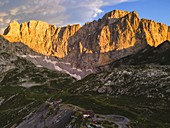 Mount Presolana aerial view at sunset in Orobie alps, Bergamo province, Lombardy district, Italy, Europe.