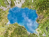 Alpine lakes aerial view in Vallecamonica, Brescia province, Lombardy, Italy.