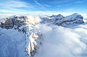 Aerial view of Gran Lagazuoi, Fanis Spitze and Tofane during winter, Dolomites, Belluno province, Veneto, Italy