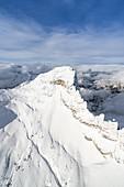 Aerial view of Monte Pelmo in winter, Dolomites, Belluno province, Veneto, Italy