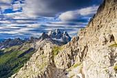 Aerial view of Becco di Mezzodi and Monte Pelmo surrounded by woods in summer, Dolomites, Belluno province, Veneto, Italy