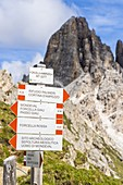 Signage of hiking trails with Forcella Ambrizzola on background, Ampezzo Dolomites, Belluno province, Veneto, Italy