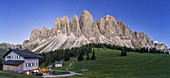 Panoramic of the Odle at dusk seen from Glatsch Alm hut, Val di Funes, South Tyrol, Bolzano province, Dolomites, Italy