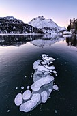 Lake Sils covered of ice bubbles with Piz Da La Margna in background at sunrise, canton of Graubunden, Engadine, Switzerland