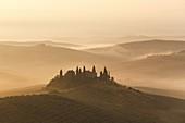 Poggio Belvedere golden sunrise, Italy, Tuscany, Siena province, San Quirico
