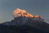 Gransasso Corno grande at sunset, Teramo, Abruzzo, Italy, Southern Europe