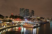 Bayside Marina at night, Downtown, Miami, Florida, USA.