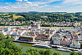 View of the old town of Passau with Danube and Inn, Lower Bavaria, Bavaria, Germany