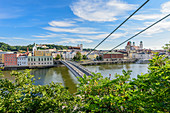 View of the Luitpold Bridge, the old town of Passau and the Danube, Lower Bavaria, Bavaria, Germany