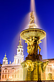 Samson Fountain and Town Hall on the town square of Budweis, South Bohemia, Czech Republic