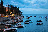 Small fishing and pleasure boats moored near the coast, Rabac, Istria, Croatia, Europe