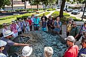 Tour group at the model of the city, Pula, Istria, Croatia, Europe