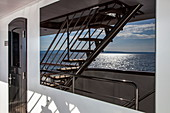 Reflection in window of cruise ship near Kampor, Primorje-Gorski Kotar, Croatia, Europe