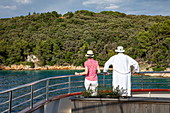 Couple on railing of cruise ship with coast behind it, near Kampor, Primorje-Gorski Kotar, Croatia, Europe