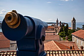 Telescope with a view over roofs of the old town and church towers, Rab, Primorje-Gorski Kotar, Croatia, Europe