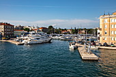 Fishing boats and yachts in the harbor, Zadar, Zadar, Croatia, Europe