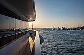 Reflection in window of cruise ship with view of yachts in marina, Zadar, Zadar, Croatia, Europe
