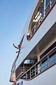 Captain Jurica Rakuljic waves from the bridge of the cruise ship MS Romantic Star (Travel Agency Mittelthurgau), Zadar, Zadar, Croatia, Europe
