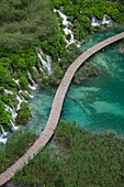 View of wooden plank path over pool with waterfalls, Plitvice Lakes National Park, Lika-Senj, Croatia, Europe