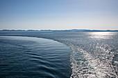 Keel of the cruise ship in the Adriatic Sea, near Kukljica, Zadar, Croatia, Europe