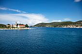 Church on peninsula and coast, Vis, Vis, Split-Dalmatia, Croatia, Europe