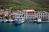 Boats moored along the beach promenade, Vis, Vis, Split-Dalmatia, Croatia, Europe