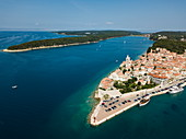 Aerial view of the cruise ship which is moored next to the old town, Rab, Primorje-Gorski Kotar, Croatia, Europe