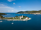 Aerial view of church on peninsula, Vis, Vis, Split-Dalmatia, Croatia, Europe