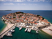 Aerial view of sailing boats in port and town, Primosten, Šibenik-Knin, Croatia, Europe