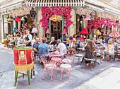 Plaka district cafe terrace, Athens, Greece, Europe,