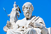 Statues of Socrates and Athena outside Academy of Athens, Athens, Greece,