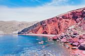 Roter Strand, Santorini; Kykladen, griechische Inseln, Griechenland