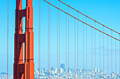 View of Golden Gate Bridge and financial district, San Francisco, California, USA