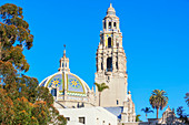 St Francis Chapel domes and bell tower over the Museum of Man, Balboa Park, San Diego, California, USA